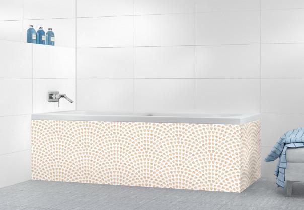 Panneau tablier de bain Mosaïque petits cœurs couleur sable