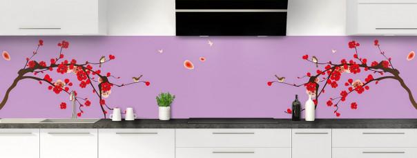 Crédence de cuisine Cerisier japonnais couleur parme panoramique