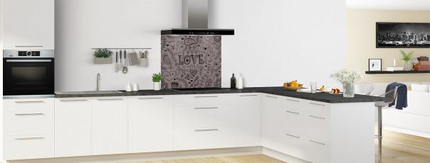Crédence de cuisine Love illustration couleur taupe fond de hotte en perspective