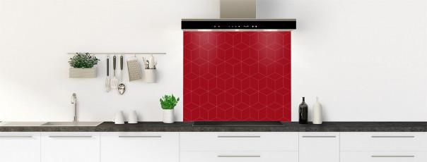 Crédence de cuisine Cubes en relief couleur rouge carmin fond de hotte