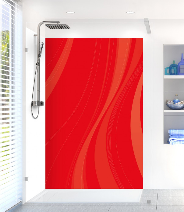Panneau de douche Voilage couleur rouge vif motif inversé