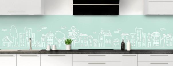 Crédence de cuisine Dessin de ville couleur vert pastel panoramique