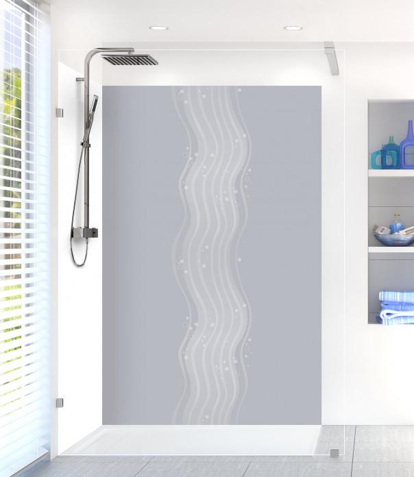 Panneau de douche Vagues design couleur gris métal