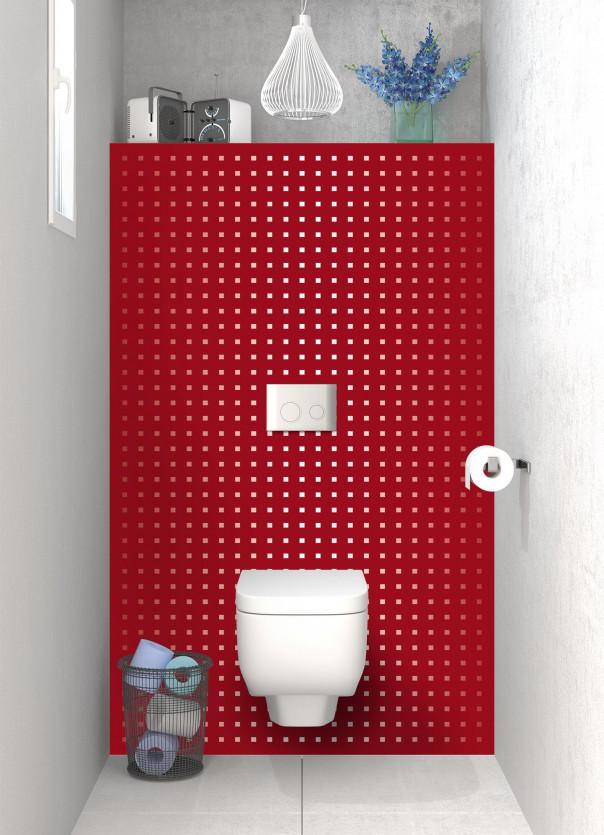 Panneau WC Petits carrés couleur rouge carmin