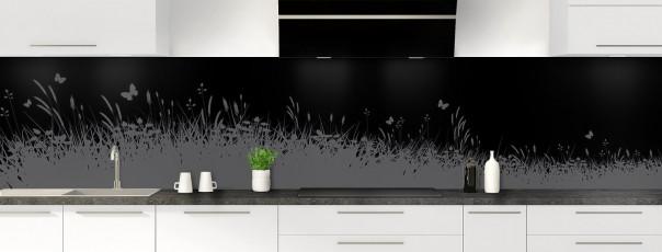 Crédence de cuisine Prairie et papillons couleur noir panoramique