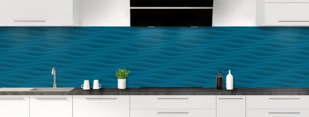 Crédence de cuisine Ondes couleur bleu baltic panoramique