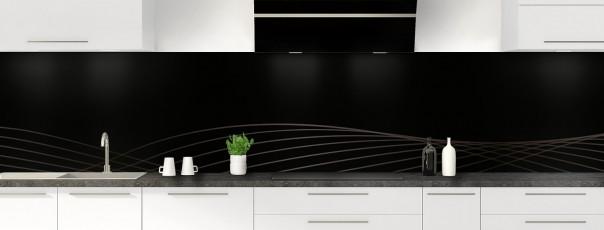 Crédence de cuisine Courbes couleur noir panoramique