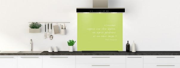 Crédence de cuisine  Citation Paul Gauguin couleur vert olive fond de hotte