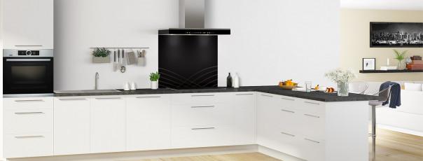 Crédence de cuisine Courbes couleur noir fond de hotte en perspective