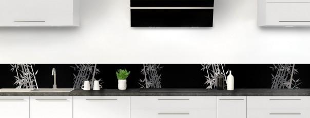 Crédence de cuisine Bambou zen couleur noir dosseret motif inversé
