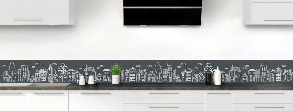 Crédence de cuisine Dessin de ville couleur gris carbone dosseret