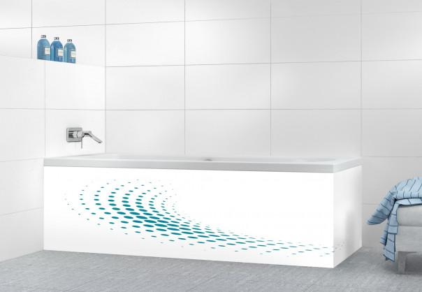 Panneau tablier de bain Nuage de points couleur bleu canard motif inversé