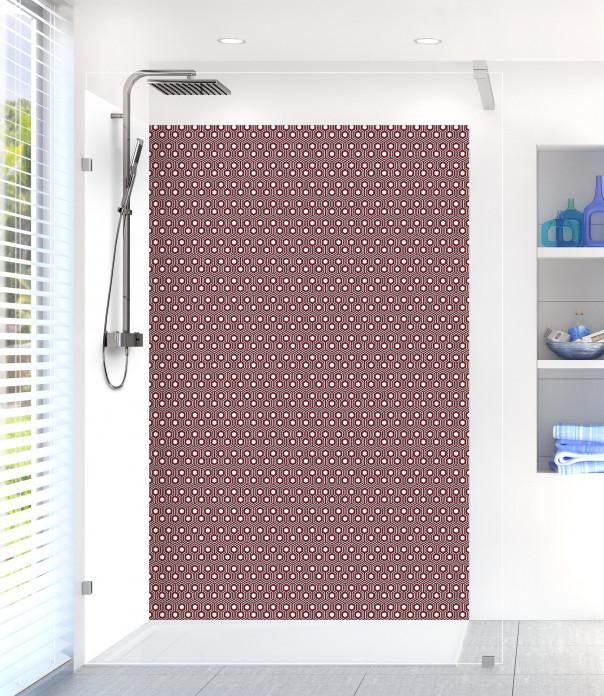 Panneau de douche Hexagones  couleur rouge pourpre