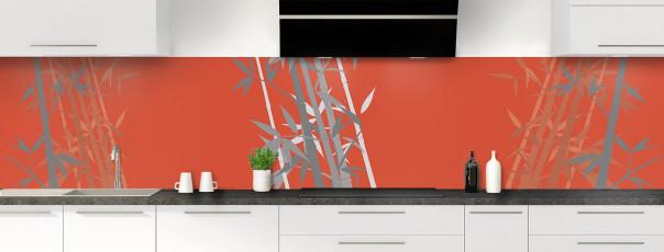 Crédence de cuisine Bambou zen couleur rouge brique panoramique motif inversé