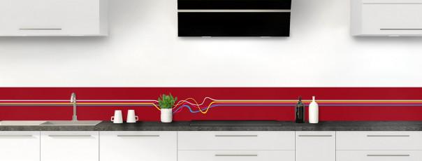 Crédence de cuisine Light painting couleur rouge carmin dosseret motif inversé