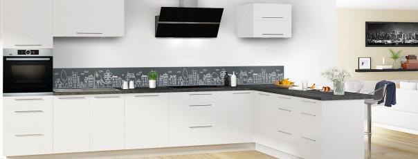 Crédence de cuisine Dessin de ville couleur gris carbone dosseret en perspective