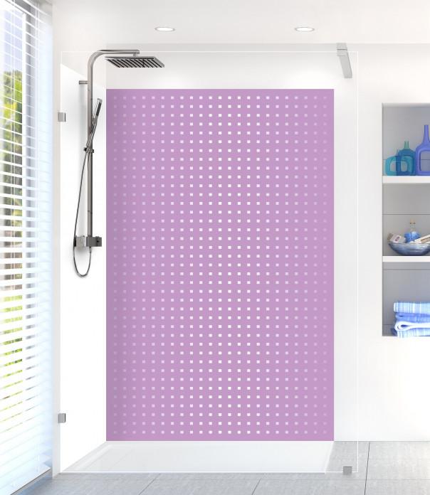 Panneau de douche Petits carrés couleur parme