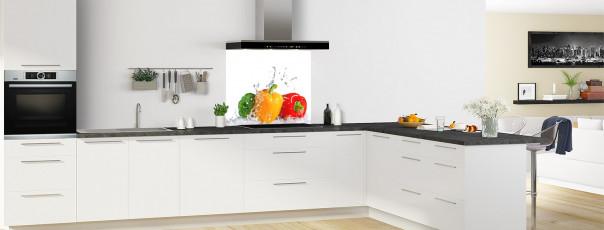 Crédence de cuisine Aqua et poivrons fond de hotte motif inversé en perspective