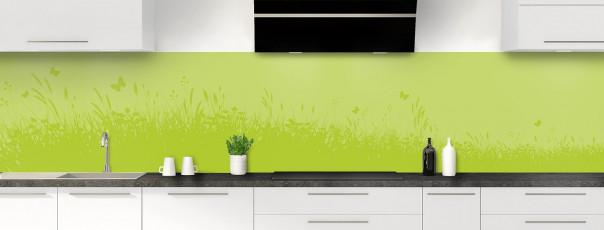 Crédence de cuisine Prairie et papillons couleur vert olive panoramique