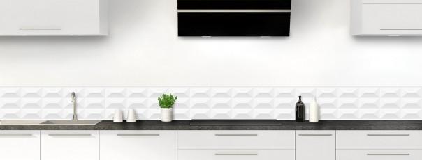 Crédence de cuisine Briques en relief couleur blanc dosseret
