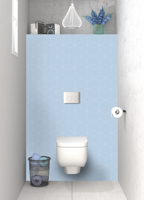Panneau WC Cubes en relief couleur bleu azur