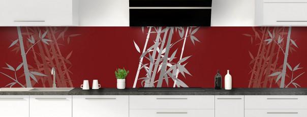 Crédence de cuisine Bambou zen couleur rouge pourpre panoramique