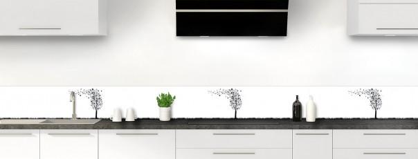 Crédence de cuisine Arbre d'amour couleur gris carbone dosseret motif inversé