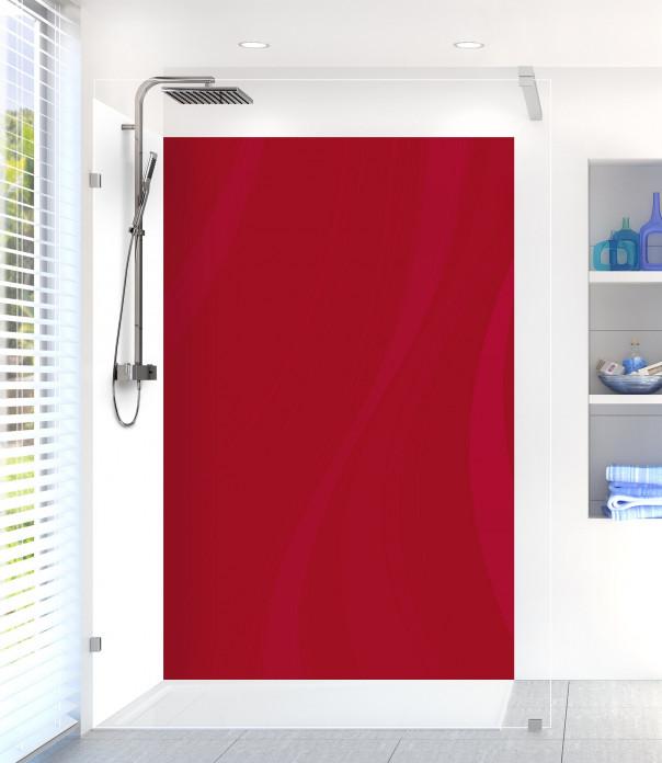 Panneau de douche Voilage couleur rouge carmin motif inversé