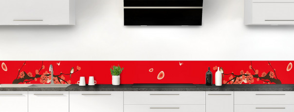 Crédence de cuisine Cerisier japonnais couleur rouge vif dosseret motif inversé