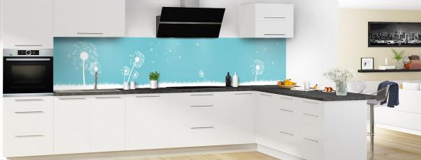 Crédence de cuisine Pissenlit au vent couleur bleu lagon panoramique en perspective