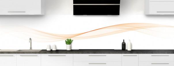 Crédence de cuisine Vague graphique couleur sable panoramique motif inversé