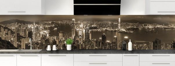 Crédence de cuisine  Hong Kong sépia panoramique motif inversé