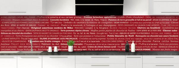 Crédence de cuisine Recettes de cuisine couleur rouge carmin panoramique