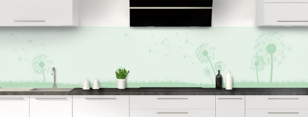 Crédence de cuisine Pissenlit au vent couleur vert eau panoramique motif inversé