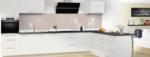 Crédence de cuisine Pissenlit au vent couleur argile panoramique motif inversé en perspective