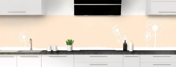 Crédence de cuisine Pissenlit au vent couleur sable panoramique motif inversé