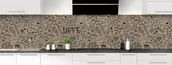 Crédence de cuisine Love illustration couleur marron glacé panoramique