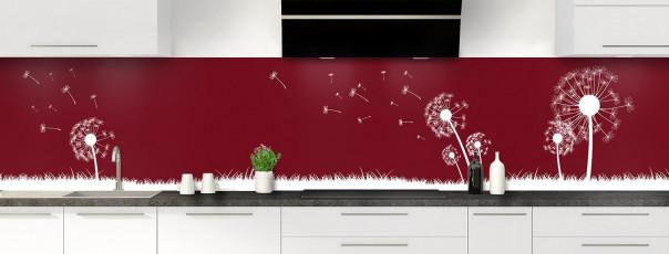 Crédence de cuisine Pissenlit au vent couleur rouge pourpre panoramique motif inversé