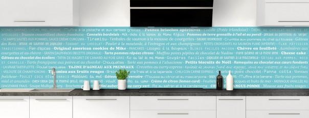 Crédence de cuisine Recettes de cuisine couleur bleu lagon panoramique