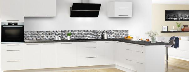 Crédence de cuisine Mur de galets gris dosseret en perspective