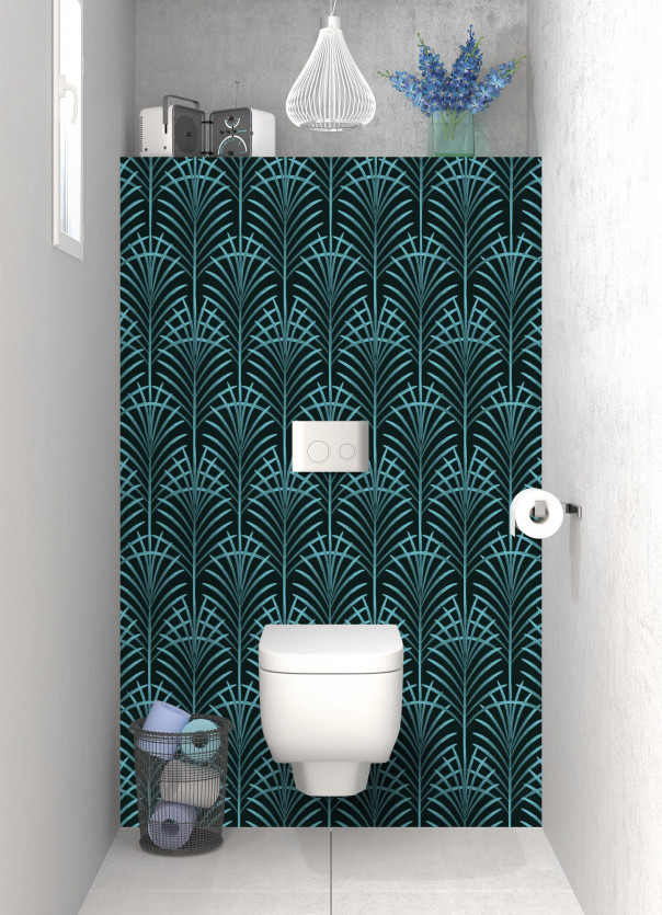 Panneau WC Feuilles de paume couleur bleu lagon