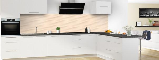 Crédence de cuisine Ondes couleur sable panoramique en perspective