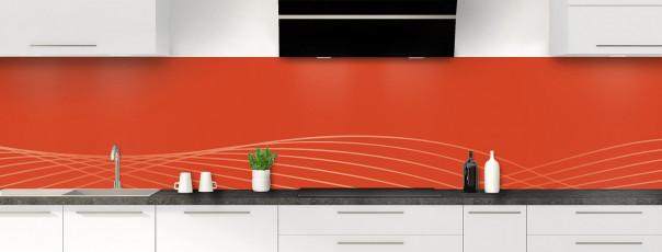 Crédence de cuisine Courbes couleur rouge brique panoramique motif inversé