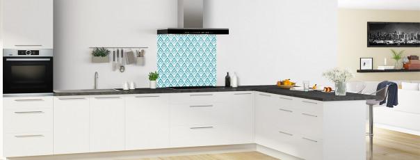 Crédence de cuisine Ecailles Magnolia couleur bleu canard fond de hotte en perspective