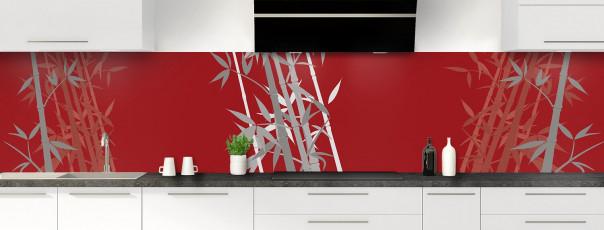 Crédence de cuisine Bambou zen couleur rouge carmin panoramique motif inversé