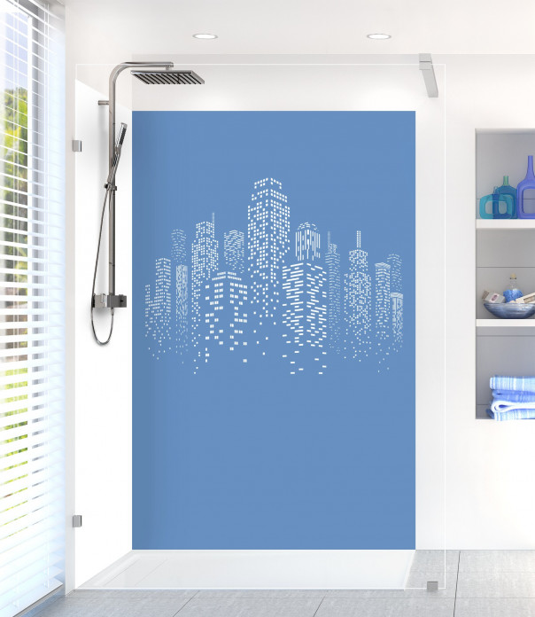 Panneau de douche Gratte-ciels couleur bleu lavande