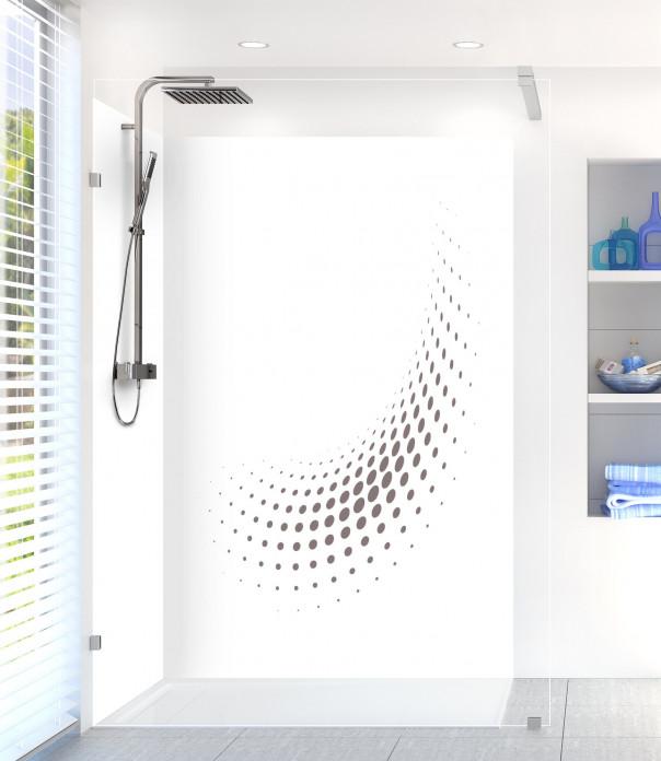 Panneau de douche Nuage de points couleur taupe motif inversé