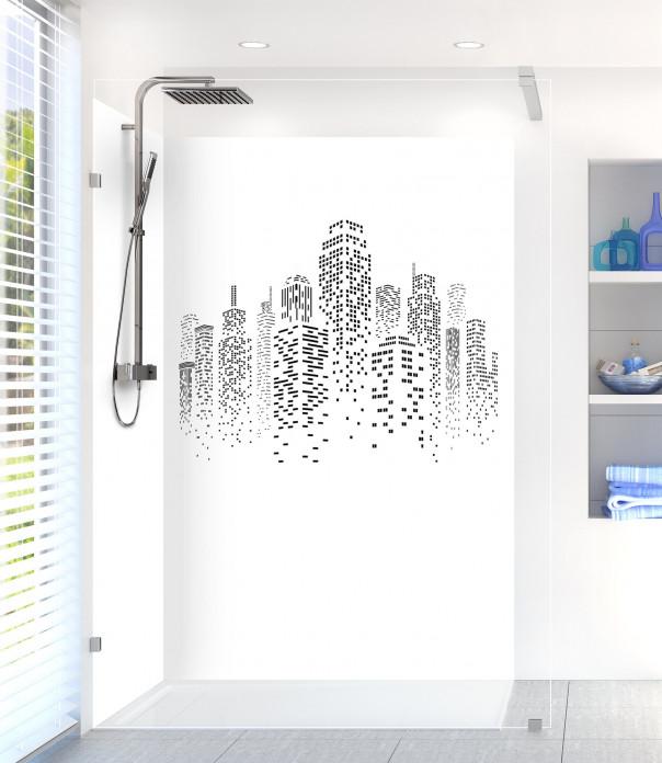 Panneau de douche Gratte-ciels couleur blanc motif inversé