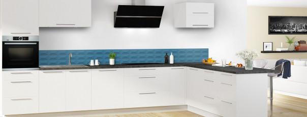 Crédence de cuisine Briques en relief couleur bleu baltic dosseret en perspective