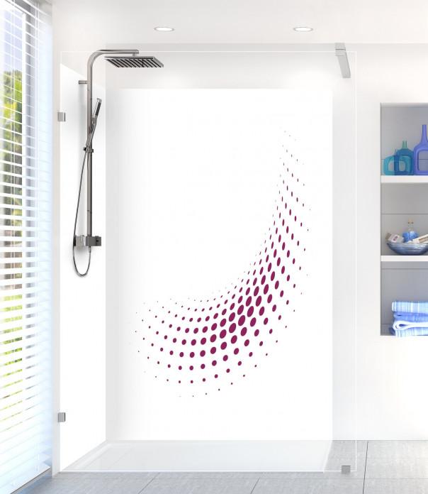 Panneau de douche Nuage de points couleur prune motif inversé